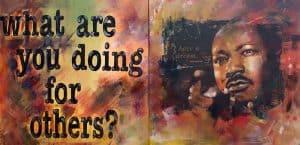 Dit schilderij van Martin Luther King zal ook te zien zijn in een etalage.