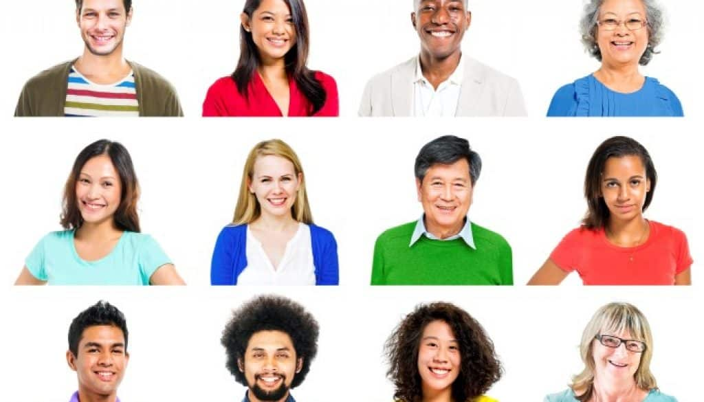 Portrait of Multiethnic Colorful Cheerful People