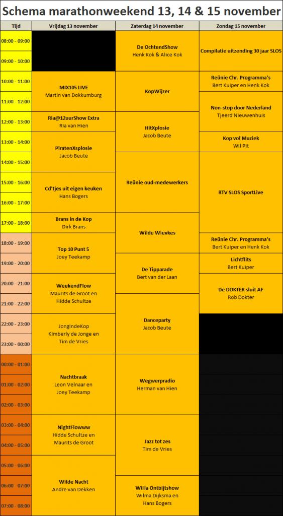 2015 - 005 - Uitzendschema marathonweekend