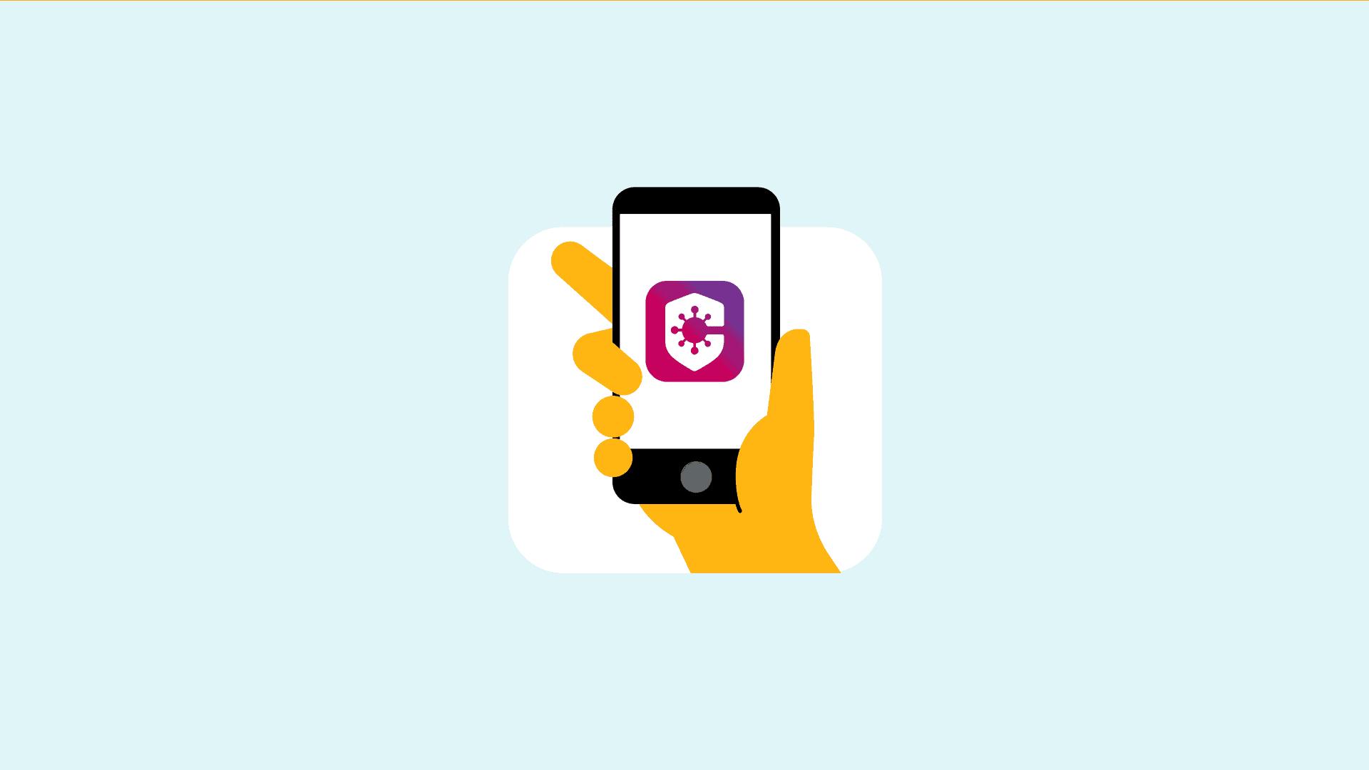 Afbeelding - Telefoon met logo CoronaMelder