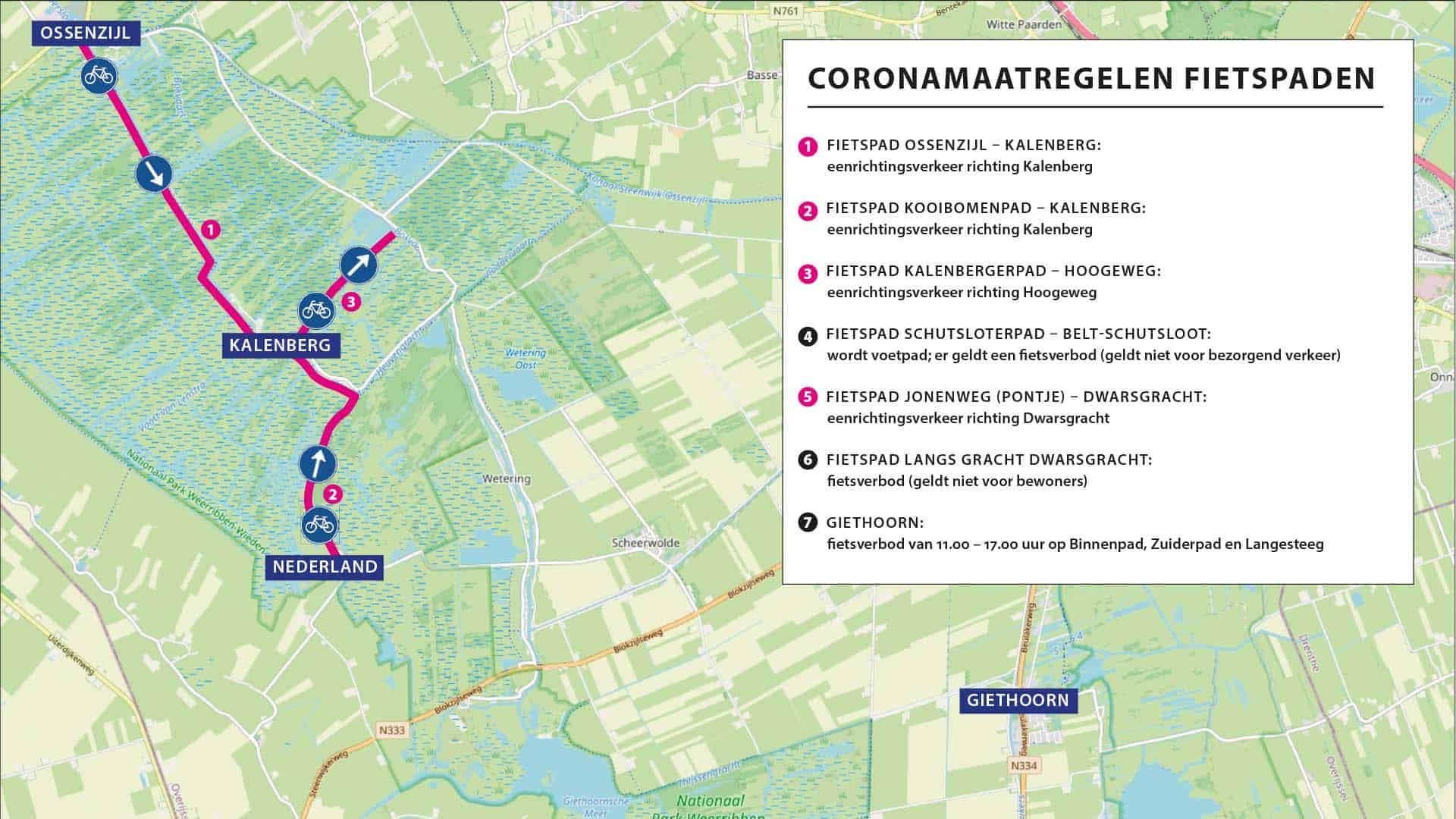 Kaart maatregelen corona fietspaden